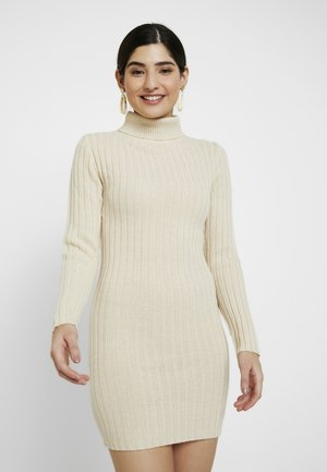 ROLL NECK JUMPER DRESS - Pletené šaty - stone