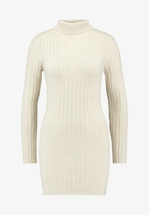 ROLL NECK JUMPER DRESS - Vestido de punto - stone