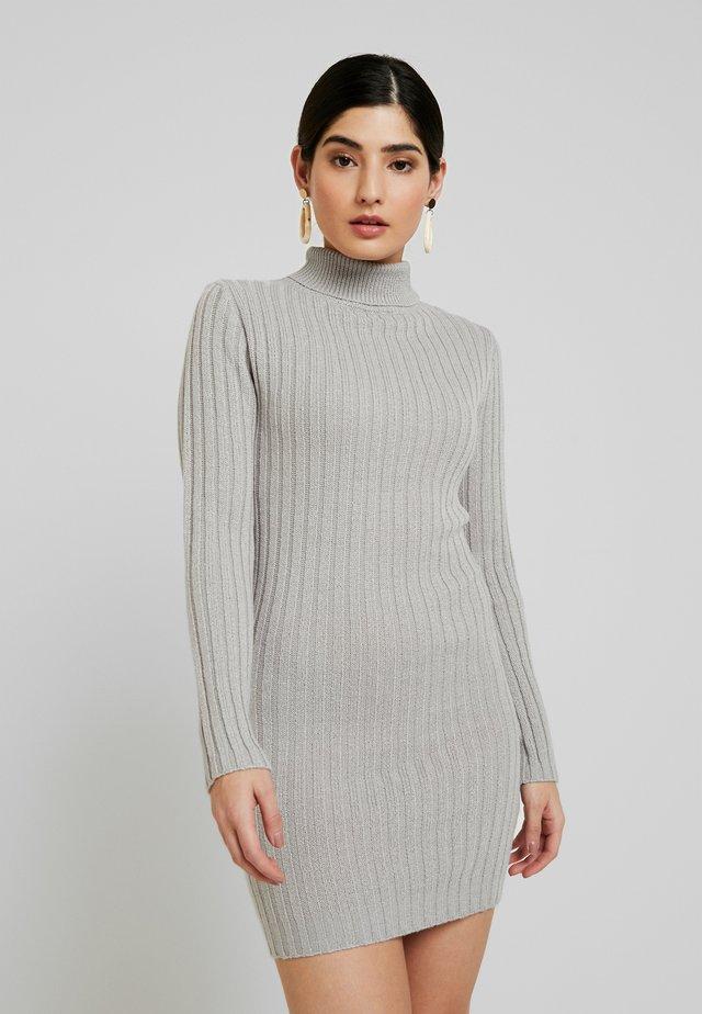 ROLL NECK JUMPER DRESS - Stickad klänning - grey