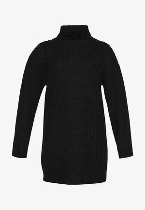 ROLL NECK JUMPER DRESS - Pletené šaty - black