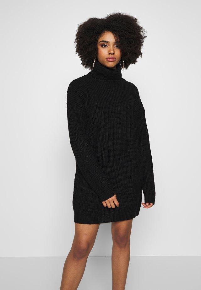 ROLL NECK JUMPER DRESS - Gebreide jurk - black