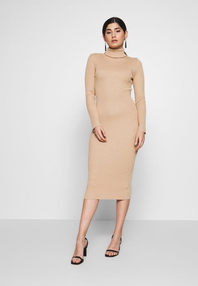 ROLL NECK MIDI DRESS - Shift dress - camel