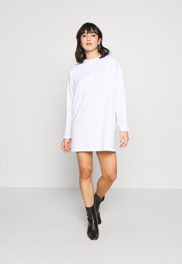 FADED BACK PRINT LONG SLEEVED DRESS - Jerseyjurk - white