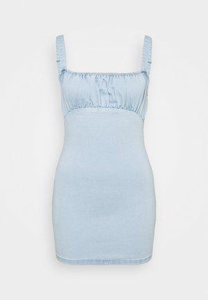 RUCHED BUST MINI DRESS - Robe d'été - light wash blue