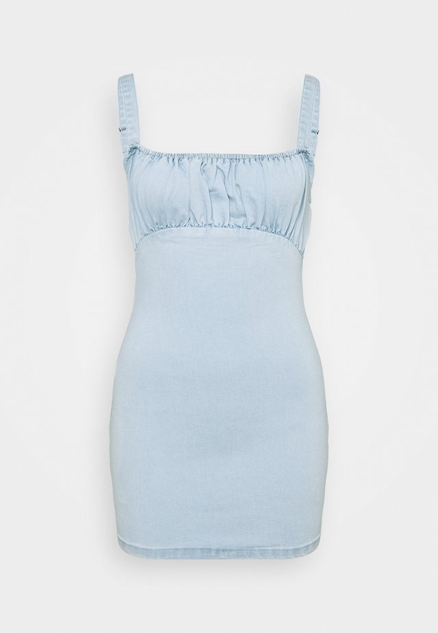 RUCHED BUST MINI DRESS - Freizeitkleid - light wash blue