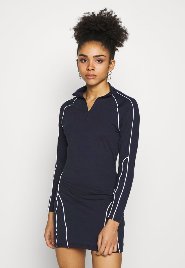 REFLECTIVE PIPING BODYCON MINI DRESS CODE CREATE - Robe fourreau - navy