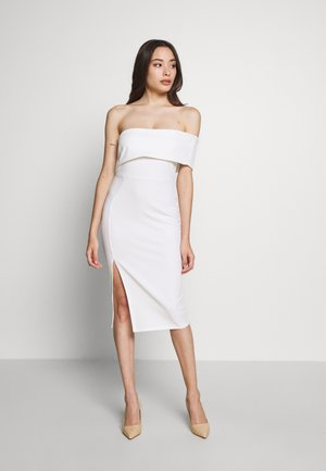 ONE SHOULDER MIDI DRESS - Pouzdrové šaty - white