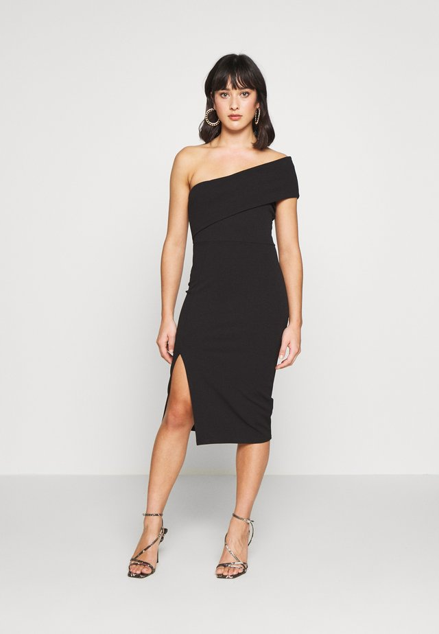 ONE SHOULDER MIDI DRESS - Etuikleid - black