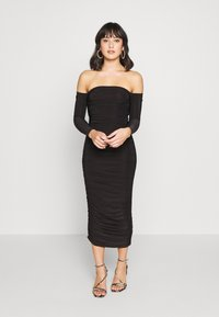 Missguided Petite - BARDOT SLINKY RUCHED MIDAXI DRESS - Vestido de cóctel - black - 0