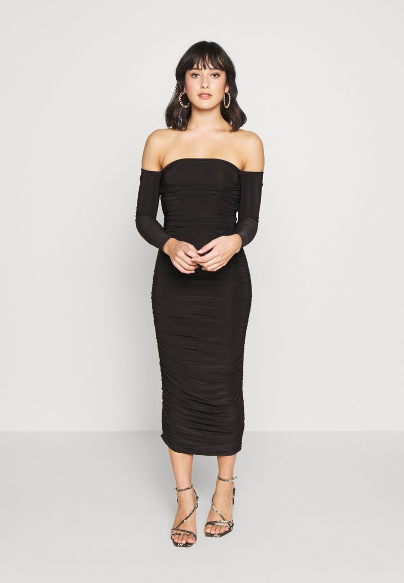 Missguided Petite - BARDOT SLINKY RUCHED MIDAXI DRESS - Vestido de cóctel - black