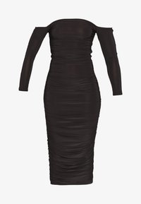 Missguided Petite - BARDOT SLINKY RUCHED MIDAXI DRESS - Vestido de cóctel - black - 3