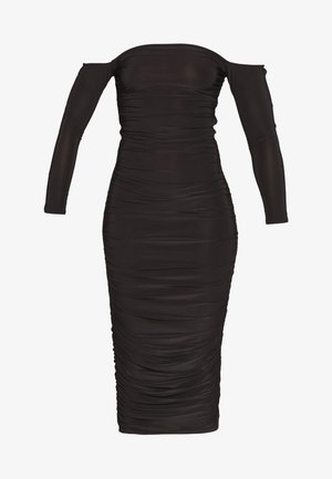 BARDOT SLINKY RUCHED MIDAXI DRESS - Cocktailjurk - black