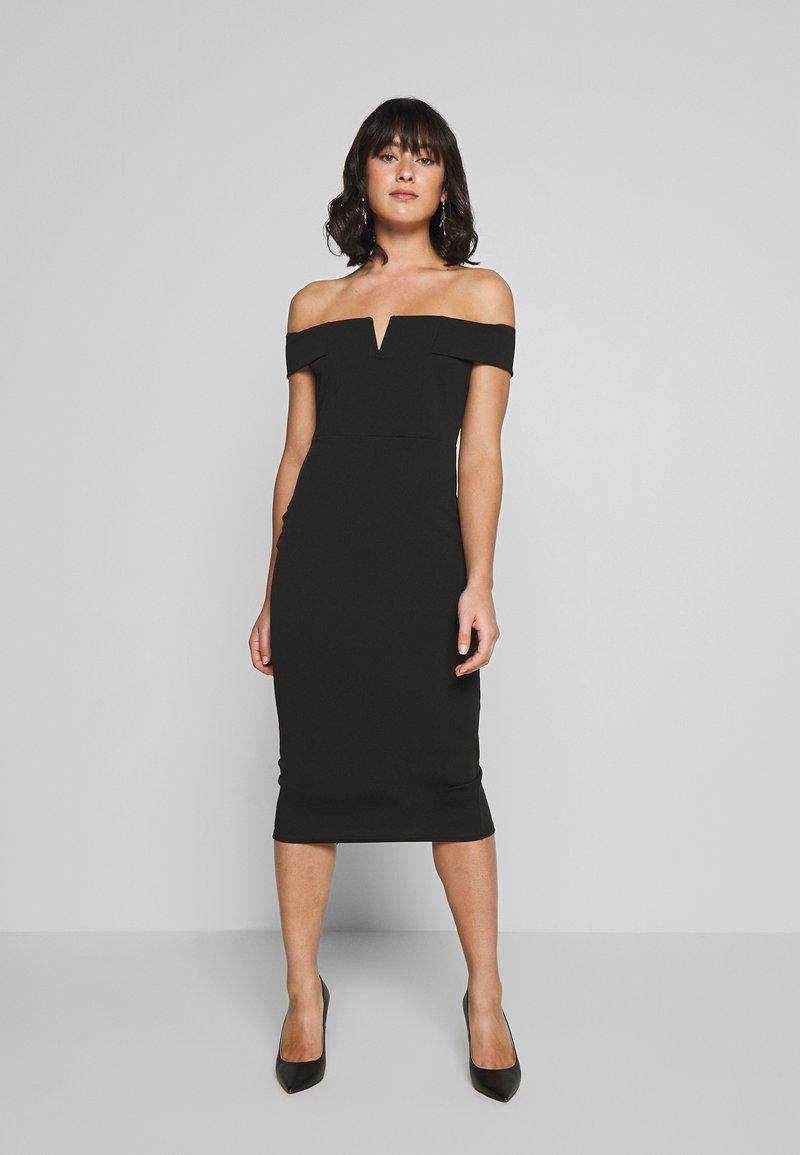 Missguided Petite - V FRONT BARDOT MIDI DRESS - Shift dress - black