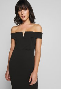 Missguided Petite - V FRONT BARDOT MIDI DRESS - Shift dress - black - 3