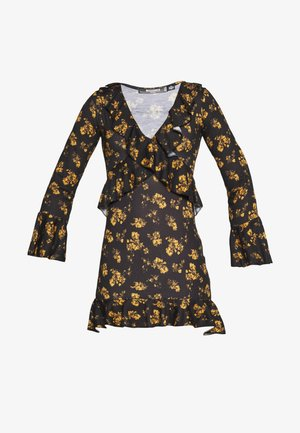 FLORAL WRAP FRILL MINI DRESS - Robe d'été - black