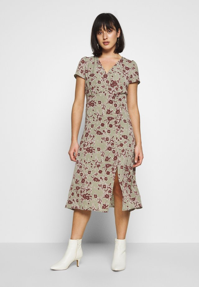 FLORAL BUTTON MIDI TEA DRESS - Day dress - green