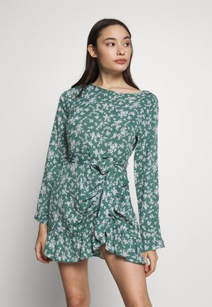BUTTON RUCHED SIDE DRESS FLORAL - Kjole - green