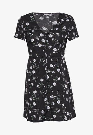 BUTTON THROUGH TEA DRESS FLORAL - Vapaa-ajan mekko - black