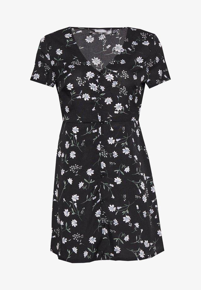 BUTTON THROUGH TEA DRESS FLORAL - Kjole - black