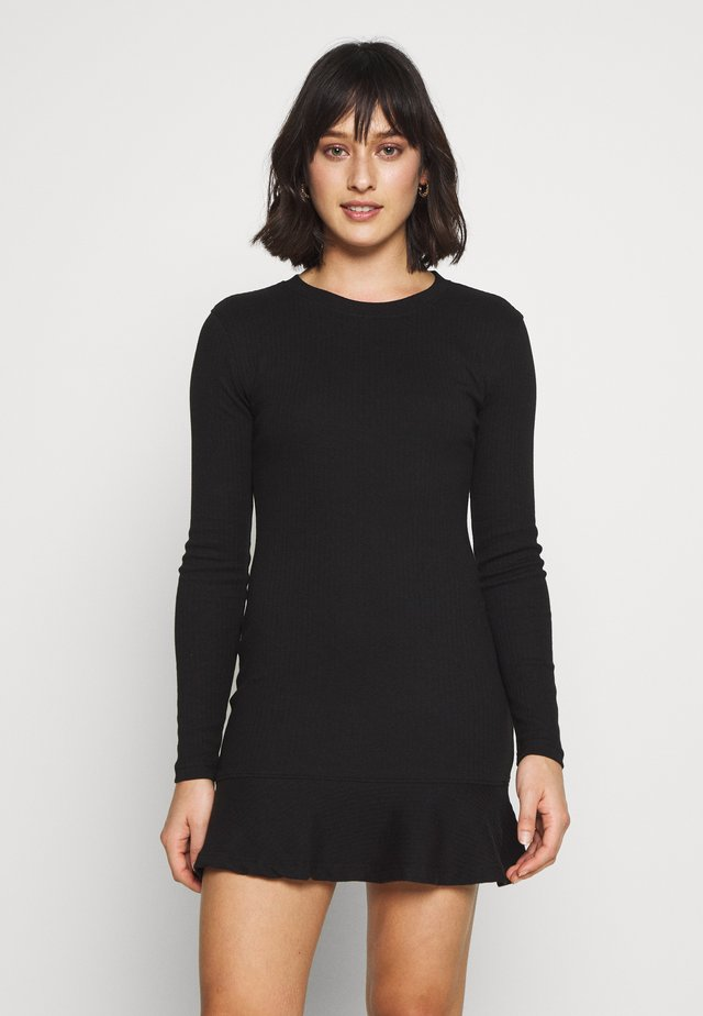 RUFFLE HEM  MINI DRESS - Korte jurk - black