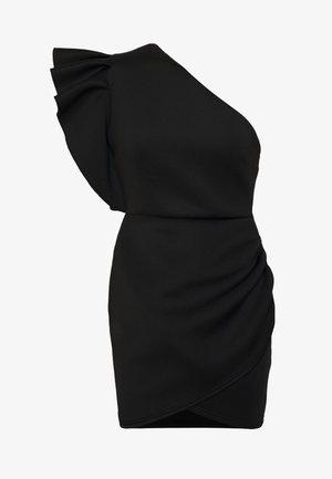 ONE SHOULDER RUFFLE WRAP MINI DRESS - Jerseykjole - black