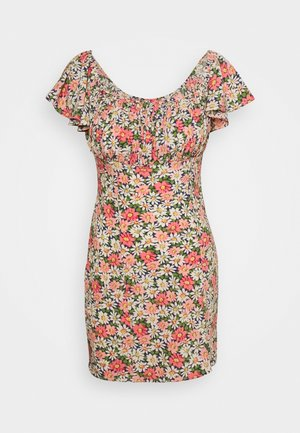 FLORAL RUCHED BUST MINI DRESS - Vestido informal - multi