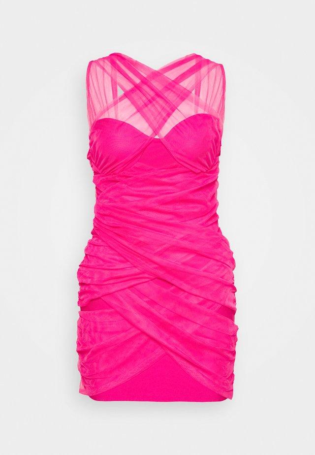 BANDAGE HALTER MINI DRESS - Sukienka koktajlowa - pink