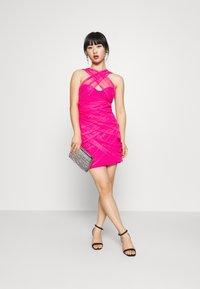 Missguided Petite - BANDAGE HALTER MINI DRESS - Sukienka koktajlowa - pink - 1