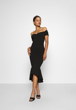 BARDOT FISHTAIL HEM MIDI DRESS - Vestido informal - black