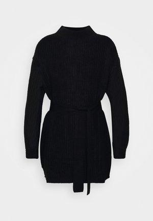 BASIC DRESS WITH BELT - Shift dress - black