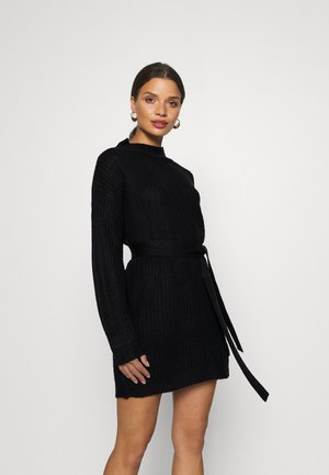 BASIC DRESS WITH BELT - Shift dress - black