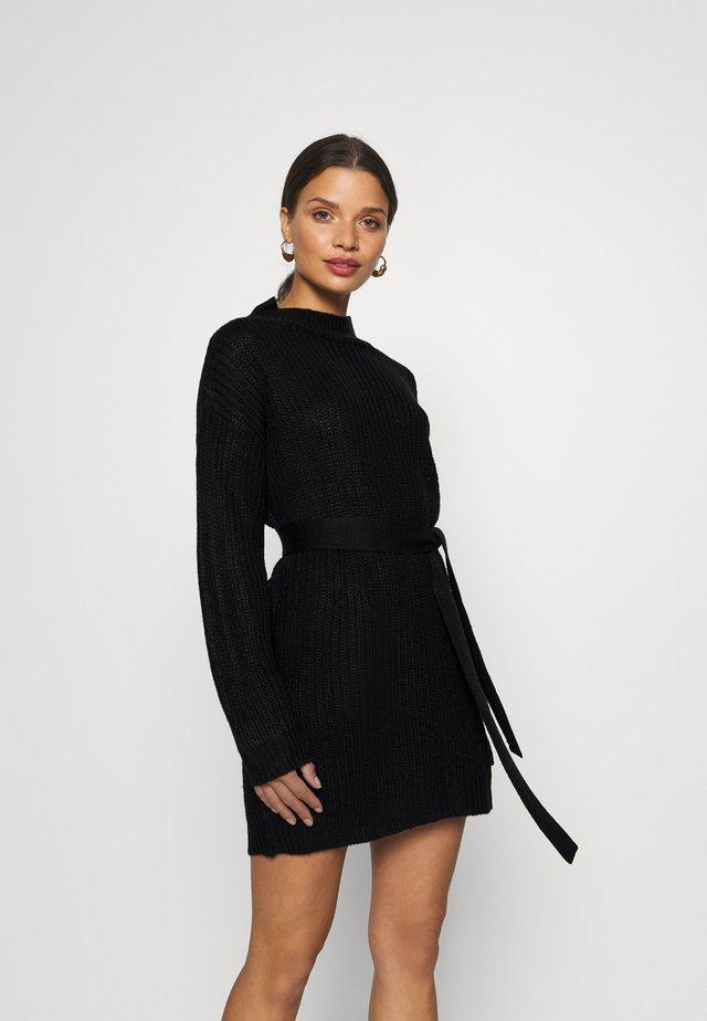 BASIC DRESS WITH BELT - Fodralklänning - black