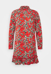 Missguided Petite - HIGH NECK DROP WAIST SMOCK DRESS FLORAL - Vestido informal - red - 4