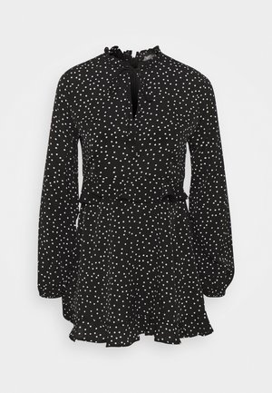 HIGH NECK FRILL WAIST TEA DRESS POLKA - Day dress - black