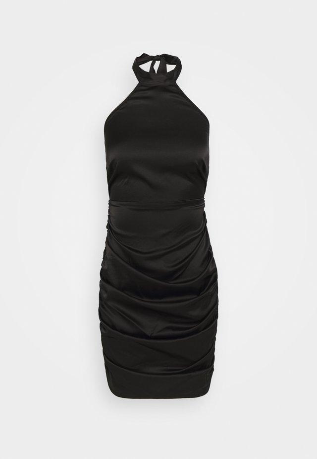 STRETCH HALTER RUCHED MINI DRESS - Cocktailjurk - black