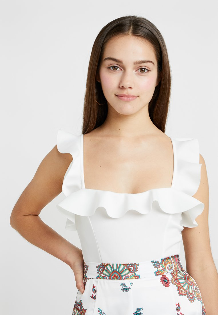 Missguided Petite - FRILL BODYSUIT - Top - white