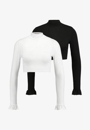 ROLL NECK FLARE SLEEVE CROP 2 PACK  - Topper langermet - black/white