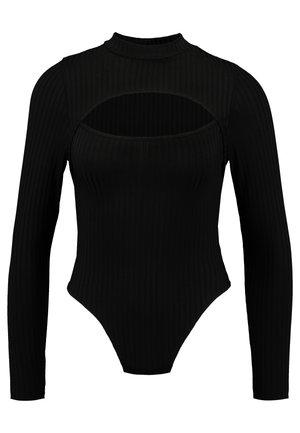 HIGH NECK CUT OUT BODYSUIT - Langærmede T-shirts - black