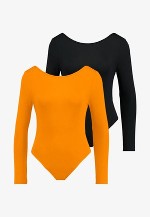 LONG SLEEVE LOW BACK BODYSUIT 2 PACK - Camiseta de manga larga - orange/black