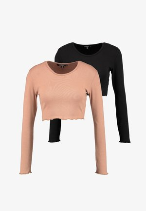 LONG SLEEVE LETTUCE HEM CROP 2 PACK - Langærmede T-shirts - black/camel