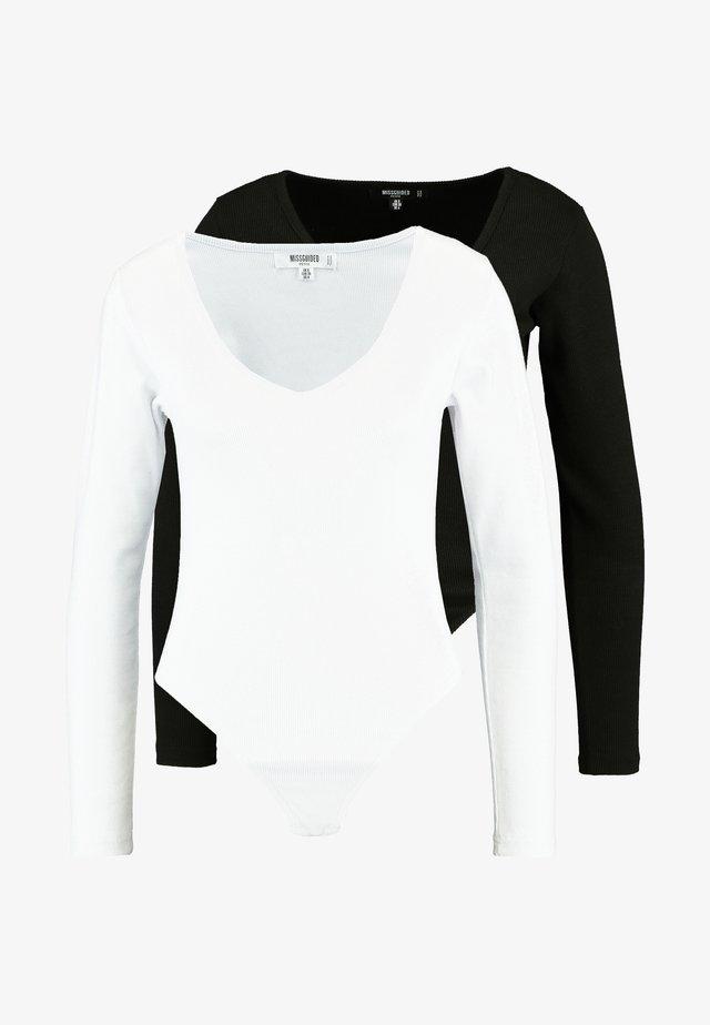 LONG SLEEVE V NECK BODYSUIT 2 PACK  - Langarmshirt - black/white