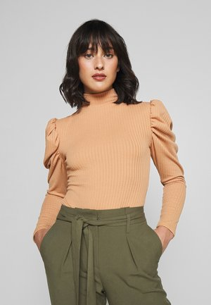 RIBBED PUFF SLEEVE HIGH NECK - Longsleeve - camel
