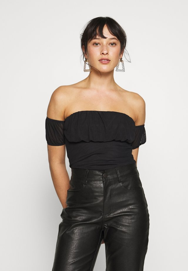 RUCHED BUST BARDOT BODYSUIT - Top - black