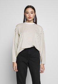 Missguided Petite - STRIPE DROP SHOULDER LONG SLEEVE - T-shirt à manches longues - green/white - 0