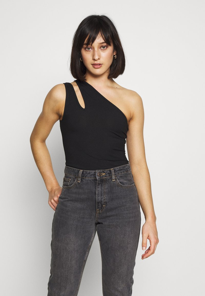 Missguided Petite - DOUBLE STRAP ONE SHOULDER - Topper - black