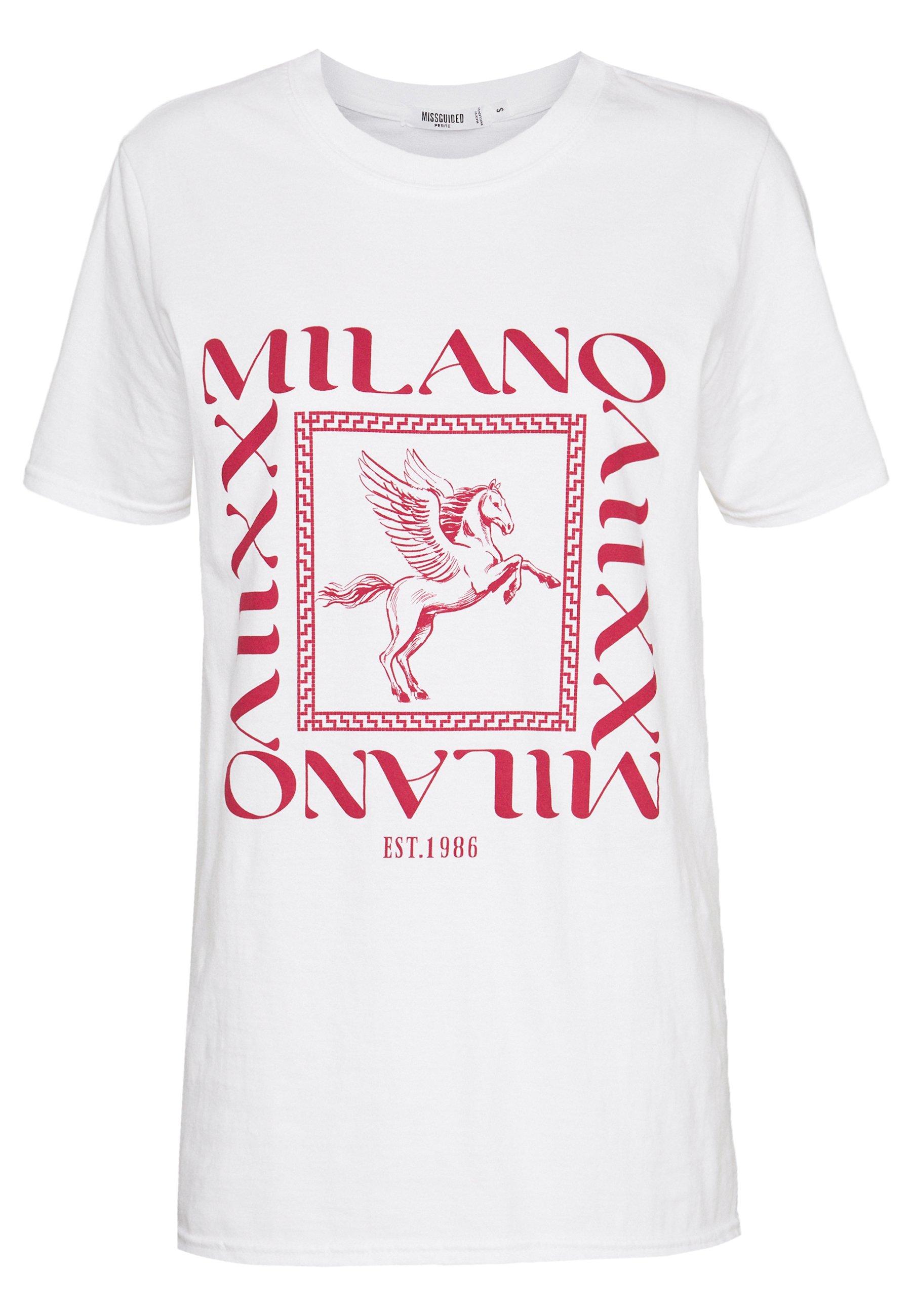 Missguided Petite MILANO GRAPHIC SHORT SLEEVE - T-shirt z nadrukiem - white