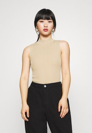 TEXTURED CUT OUT BACK BODYSUIT - Top - beige