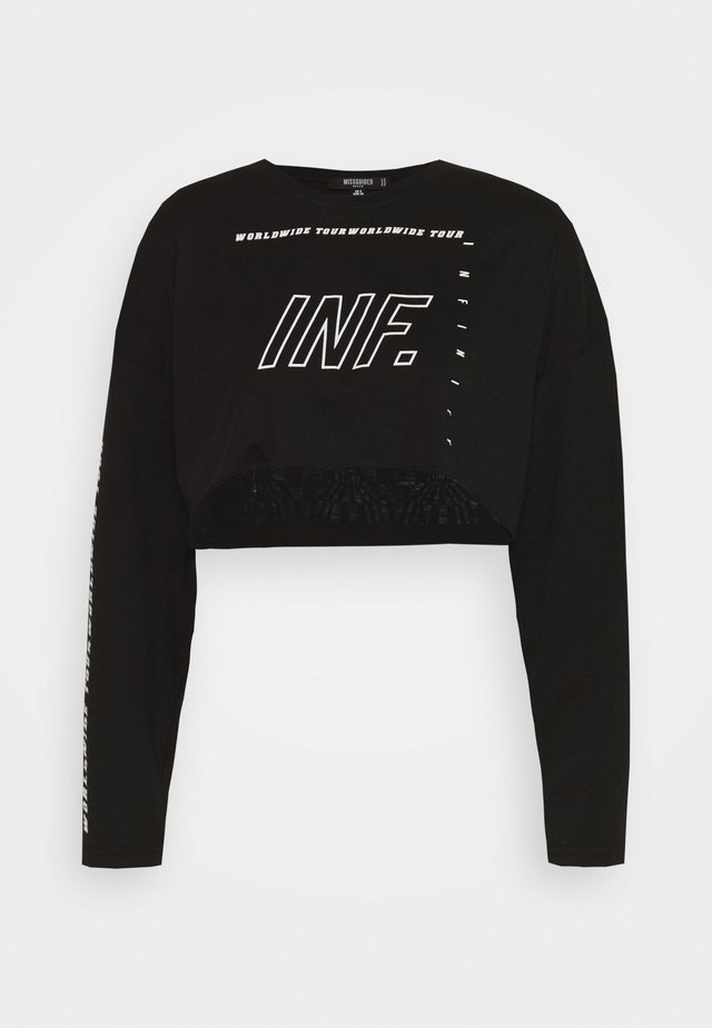 GRAPHIC CROP LONG SLEEVED  - T-shirt à manches longues - black