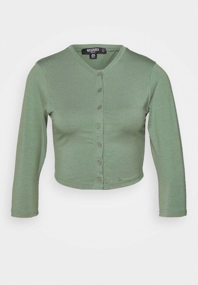 BUTTON FRONT - Bluzka z długim rękawem - green