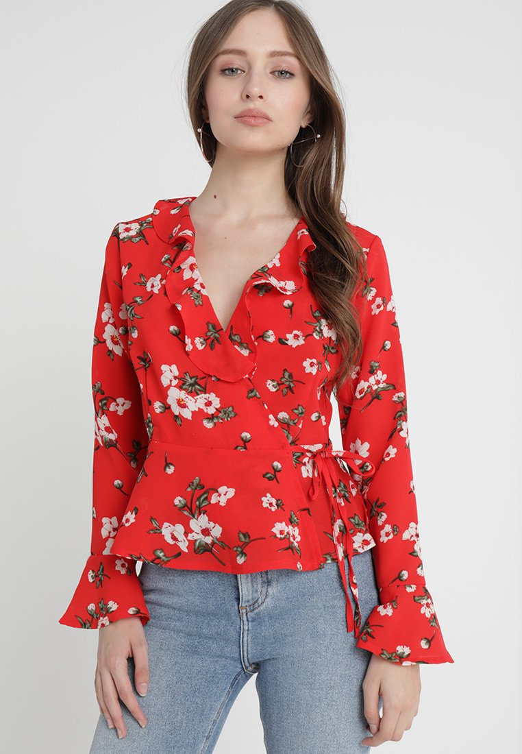 Missguided Petite - FLORAL FRILL DETAIL TIE WAIST  - Blouse - red